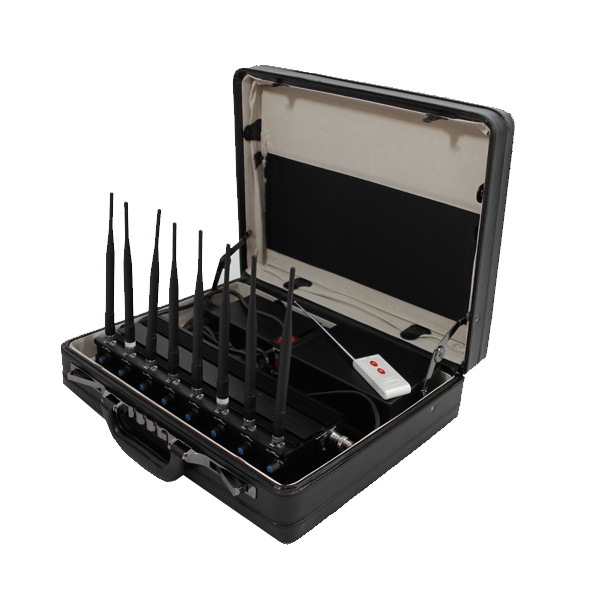 PCB-2068B Briefcase 8 Bands 4G Mobile Phone WiF GPS UHF VHF Jammer with Remote Control