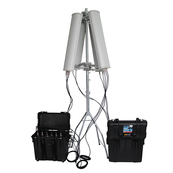 PCB-3076B-HGA Anti-Drone UAV 6 Bands Pelican 1440 2 x Higher Gain Directional Antennas Cover 180 Degrees, Built-in Battery